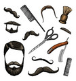 barbershop tools icon set man or hipster fashion vector image vector image