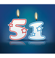 Birthday candle number 51 vector image vector image