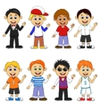 Boy cartoon collection set vector image vector image