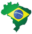 brazil map with flag vector image vector image