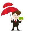 Business protection concept business man cartoon vector image vector image