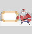 cartoon sad santa claus points to a blank vector image