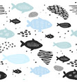 childish nautical seamless patterns with cute fish vector image