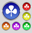 Clover icon sign Round symbol on bright colourful vector image vector image
