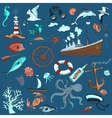colored hand-drawn elements marine theme vector image