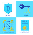 cryptocurrency transactions icon set in flat style vector image
