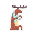 cute cartoon deer cutting his nails colorful vector image vector image