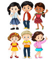 different characters of boys and girls vector image vector image