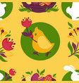 easter pattern paschal eggs bunny and chick vector image vector image