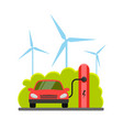 flat of a red electric car vector image vector image