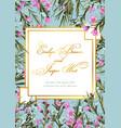 floral elegant botanical card design with blue vector image vector image