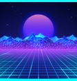futuristic retro landscape 80s in neon vector image