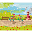 girl sitting on the bench in the park vector image