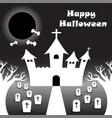 happy halloween - white castle under the black vector image