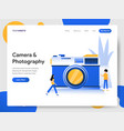 landing page template camera and photography vector image