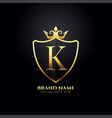 letter k luxury logo concept with golden crown vector image vector image