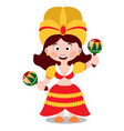 mexican dancer girl woman with dark hair in a vector image vector image