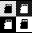 micro sd memory card icon isolated on black white vector image vector image