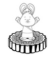 mid autumn rabbit on mooncake in black and white