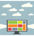 Monitor with clouds on blue background vector image vector image