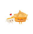 nachos and spicy sauce are friends forever fast vector image