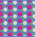 pattern pink and white flowers leaves decoration vector image