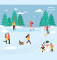 people relax in winter park vector image