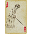 Playing Card Queen - Vintage Golfer an woman vector image vector image