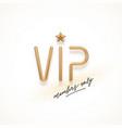 realistic golden metal vip sign vector image