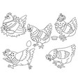 set hens chickens and eggs vector image vector image