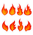 set of red fire icons flames vector image vector image