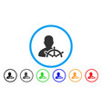 ship captain rounded icon vector image vector image