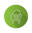 Shopping cart with house inside flat linear long