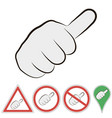 sign of hitchhiking hand with finger to the top vector image vector image