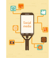 smartphone with social icons vector image vector image