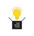 think outside box with bulb vector image