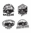 vintage monochrome hot rod garage logo design vector image vector image