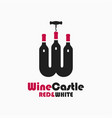 wine castle logo letter w red and white wine vector image vector image