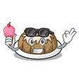 with ice cream bundt cake character cartoon vector image