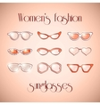 Women fashion isolated sunglasses set vector image