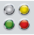 button set with metallic elements on background vector image