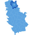 Map of Serbia Subdivision Central Banat District vector image
