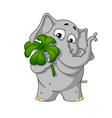 cartoon holds clover for good luck vector image