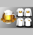 beer glass logo with set different shirts vector image