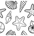 black and white seashell seamless pattern design vector image vector image