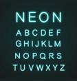 blue alphabet neon light icons set vector image