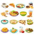 breakfast brunch menu food icons set vector image