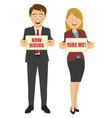 business people holding boards vector image vector image