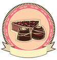 Chocolate sweets on label background vector image