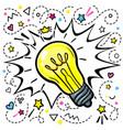 concept idea light bulb in pop art style on vector image vector image